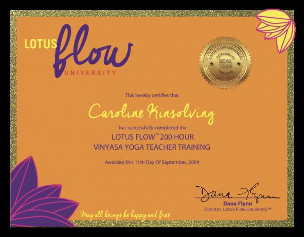 Certificate - Caroline Kinsolving